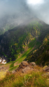 Beautiful mountain landscape. High-mountain massif,