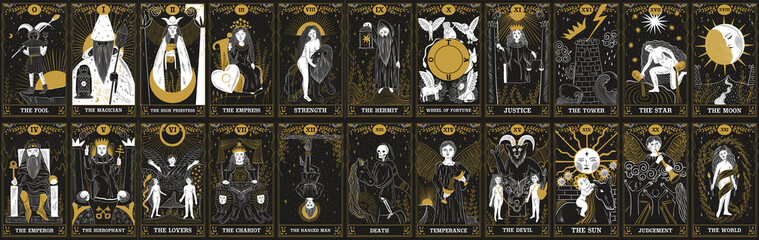 Obraz vintage vintage style deck of tarot cards. magical predictions of the future, mysterious characters. - fototapety do salonu