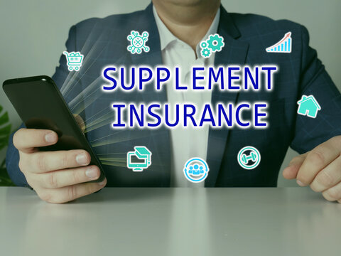 SUPPLEMENT INSURANCE text in search bar. Budget analyst looking at cellphone.