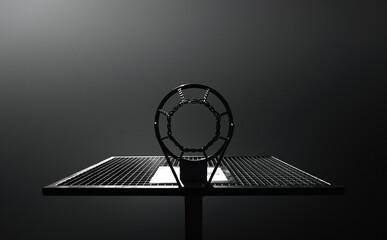 Michael Jordan Basketball - Baskteballkorb als Silhouette im minimalistischen schwarz weiss Stil -...