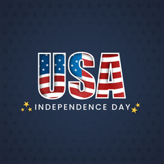 Obraz American Flag USA Font On Blue Star Pattern Background For Happy Independence Day. - fototapety do salonu