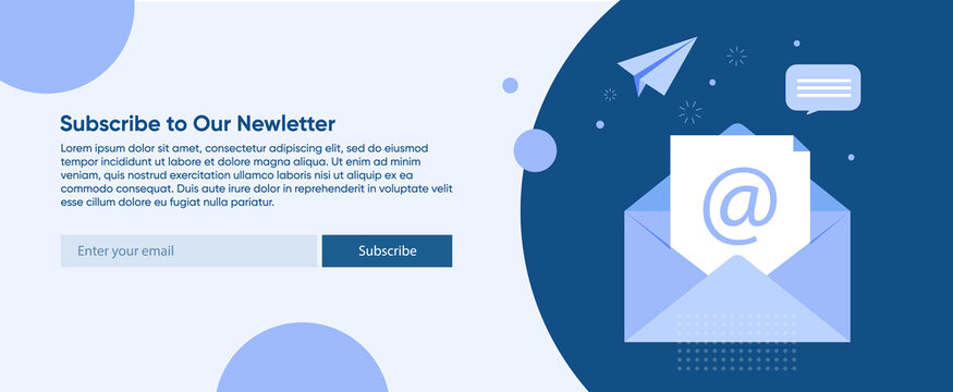 A banner for sending news to customers, so that they are aware of all the latest events. Template with a call to subscribe to an email newsletter on the site