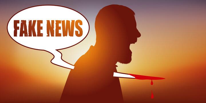 Concept des rumeurs sur les réseaux sociaux, avec un homme vu de profil, qui symboliquement, se fait poignarder par la diffusion d'une fake news.