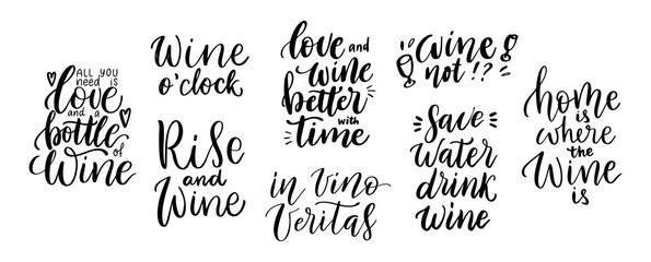 Fototapeta Wine vector quote set. Positive funny sayings for poster in cafe and bar, t shirt design. Kitchen funny typography poster set about love for wine. Vector illustration isolated on white background obraz
