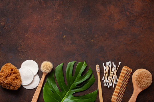 zero waste eco friendly hygiene bathroom concept. wooden toothbrush reusable pads wood buds brush