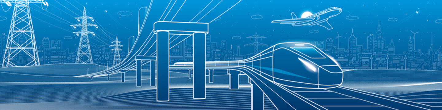 Outline road bridge. Car overpass. Train rides. Airplane fly. City Infrastructure and transport illustration. Urban scene. Vector design art. White lines on blue background