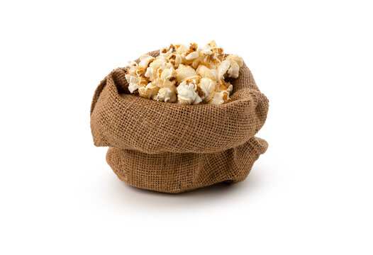 Pop corn in sack on isolated white background