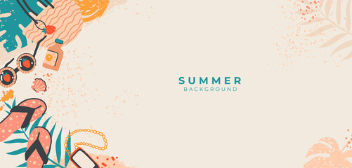 Fototapeta Tropical summer vector banner.Doodle beach accessories on sandy.Vacation concept with sunglasses, palm leaves, bag.Top view.Border frame design with copy space on beige background for media,cover,post obraz