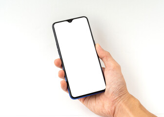 Hand a man holding mobile phone with a copy space isolated on white background.