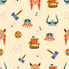 Fototapeta Vector image. Funny modular image of Vikings to decorate. Design for children. Continuous module to expand. obraz