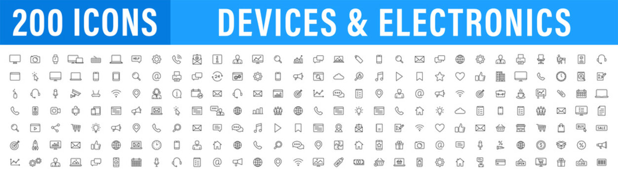 Set of 200 Technology and Electronics and Devices web icons in line style. Device, phone, laptop, communication, smartphone, ecommerce. Vector illustration.