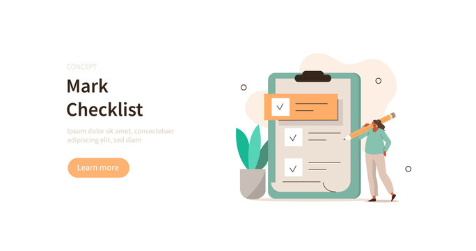 Character holding pencil and filling big checklist. Woman putting check mark on checklist in survey form. Business organization and planning concept. Flat cartoon vector illustration.