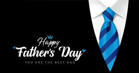 Obraz Happy Fathers Day You are the best Dad calligraphy with blue striped necktie and men's suit. Father's day vector greeting illustration with hand drawn lettering, elegant striped tie and black costume - fototapety do salonu