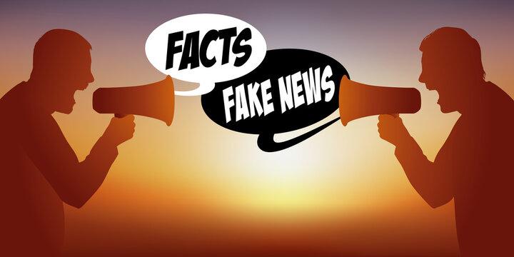 Concept des rumeurs sur les réseaux sociaux face aux faits avérés, avec deux hommes face à face qui, s'opposent sur le thème des fake-news.