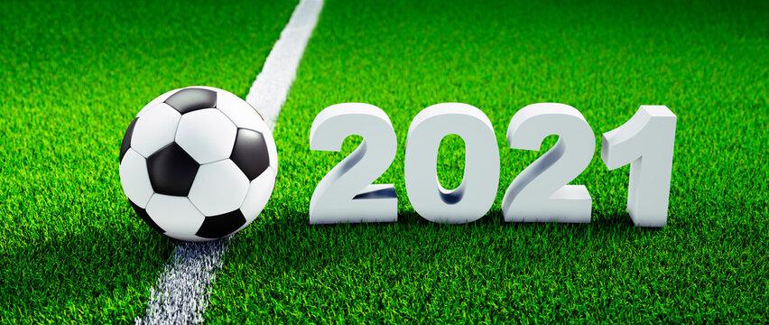 Soccer ball on green grass - EM 2021