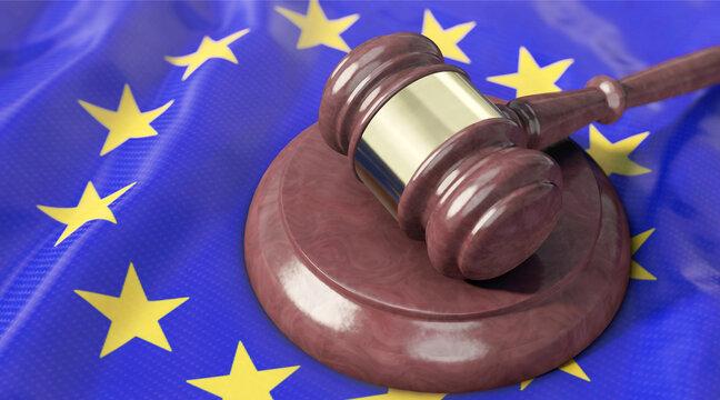 Richterhammer liegt auf EU-Flagge