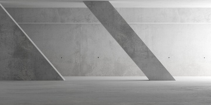 Abstract empty, modern concrete room with indirect lighting from right with diagonal pillar and rough floor - industrial interior background template