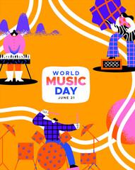 Obraz World Music Day poster diverse people band art - fototapety do salonu