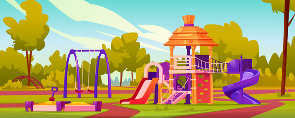 Obraz Children playground at yard of kindergarten. Garden with swings and slides for kids, sandbox with sand and toys. Leisure and activities for pupils, playing games. Cartoon vector in flat style - fototapety do salonu