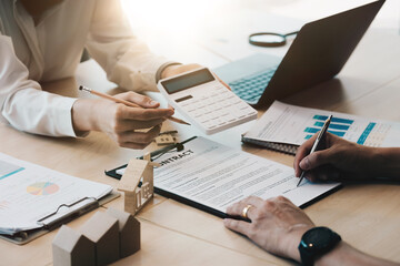 legal consultants, notary or justice lawyer discussing contract document on desk with client customer in courtroom office, business, justice law, insurance, legal service, buy and sell house concept. - fototapety na wymiar