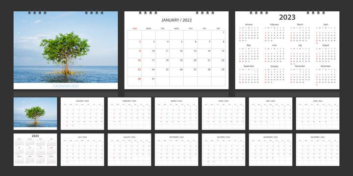 Calendar 2022, calendar 2023 week start Sunday corporate design template vector.