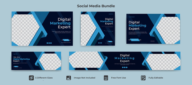 facebook cover banner template social media instagram post youtube cover thumbnail web banner identity bundle package layout