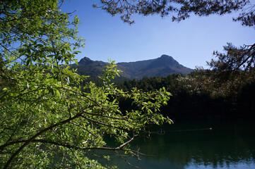 krajobraz góry jezioro wiosna niebo nienieskie natura drzewa