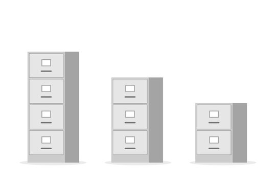 Office filing cabinet icon set. Clipart image isolated on white background