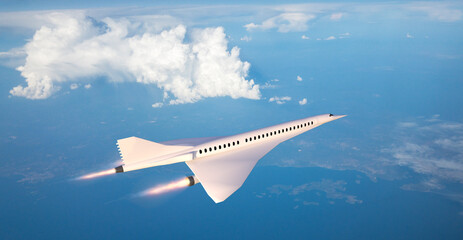 Fototapeta Supersonic flight, the plane to travel faster than ever. Unlike other commercial flights, it has double the speed. 3d render obraz