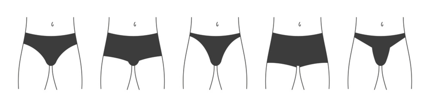 Different types of men's underpants or swimming trunks. Collection of lingerie front view. Vector illustration