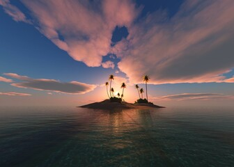 Obraz Beautiful sunset over a tropical island with palm trees, uninhabited island at sunset, palm trees on the beach in the sun, 3D rendering - fototapety do salonu