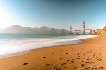 San Francisco's Golden Gate Beach and Bridge filmed with long exposure
