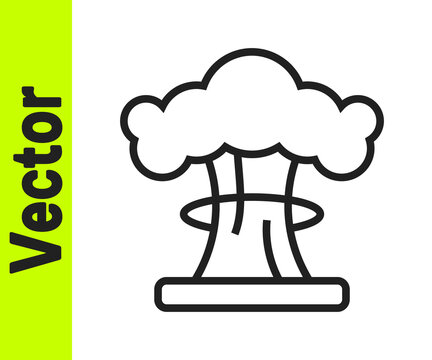 Black line Nuclear explosion icon isolated on white background. Atomic bomb. Symbol of nuclear war, end of world. Vector