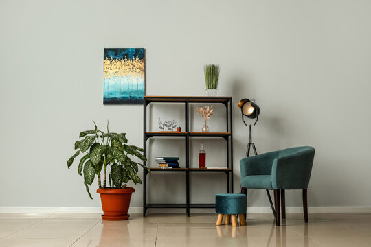 Glowing lamp in interior of modern room