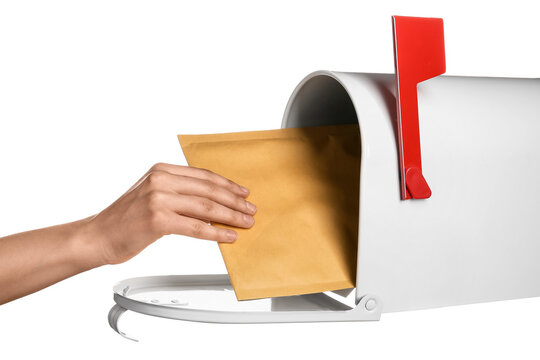 Woman getting letter from mail box on white background