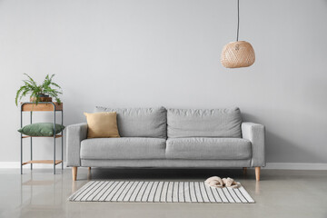 modern interior of living room with cozy sofa