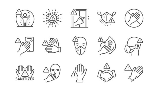 Touch warning line icons. Stop touch face, wear medical mask. Covid cough symptoms, wash and disinfect hands icons. Do not press lift buttons, protect face with medical mask. Linear set. Vector