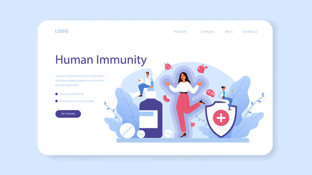 Professional immunologist web banner or landing page. Idea of healthcare