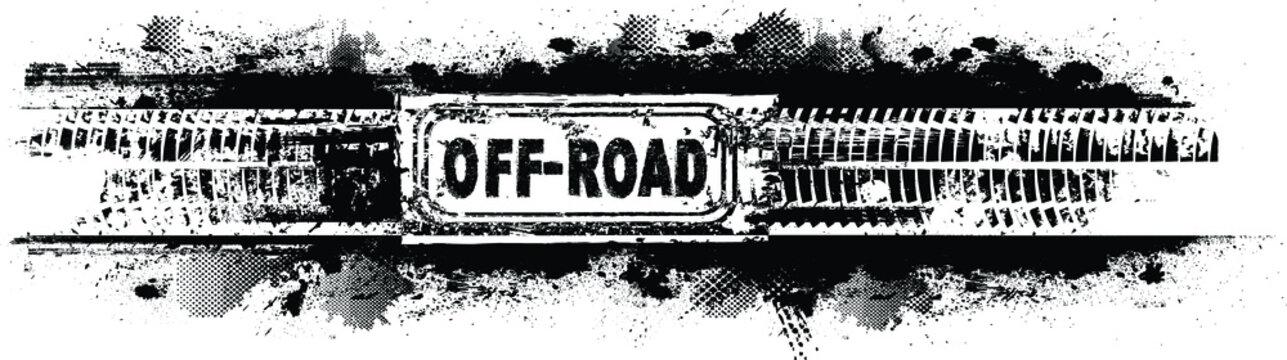 Vector off road stamp . Textured  design element . Mud splash grunge texture.  banner