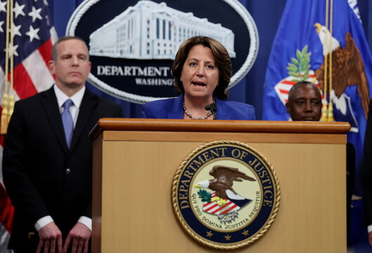 U.S. law enforcement officials discuss May ransomware attack on Colonial Pipeline during news conference at the Justice Department in Washington