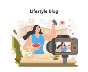 Fototapeta Lifestyle video blogger concept. Sharing inspiring video content obraz
