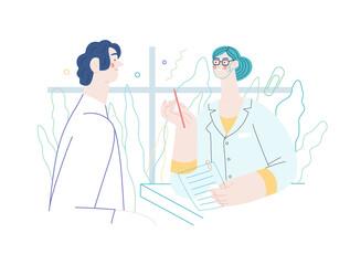 Fototapeta Doctor and patients - medical insurance illustration. Modern flat vector obraz