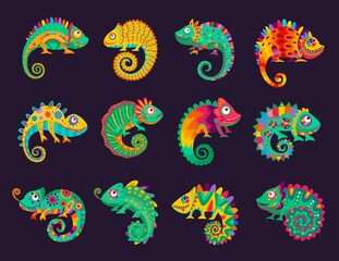 Obraz Cartoon mexican chameleons, vector lizards with ornate colorful skin, long curvy tail, tongue and telescopic eyes. Wild animal, pet, exotic tropical reptile for Cinco de Mayo or Dia de Los Muertos - fototapety do salonu