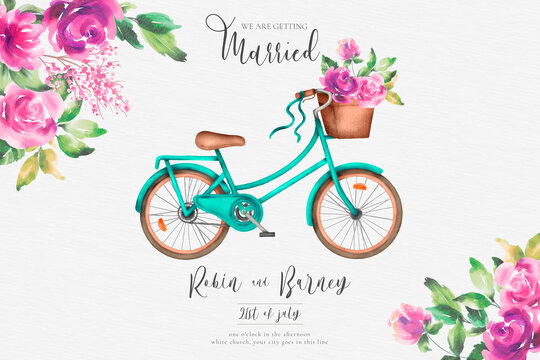romantic wedding invitation with watercolor bicycle flowers