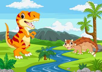 Obraz Cartoon two dinosaurs in the jungle - fototapety do salonu