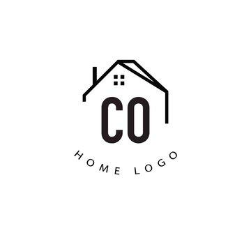 Initial Letter co Home Creative Logo Design Template. Home template logo company