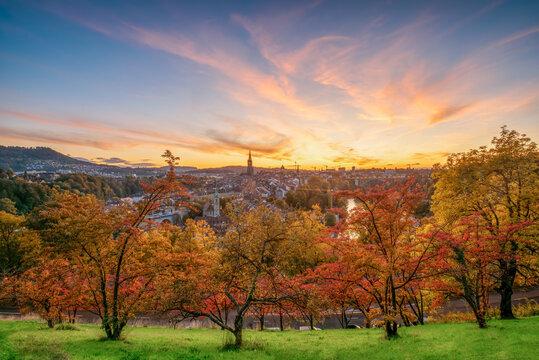 Amazing autumn scenery of old town of Bern, Switzerland at sunset
