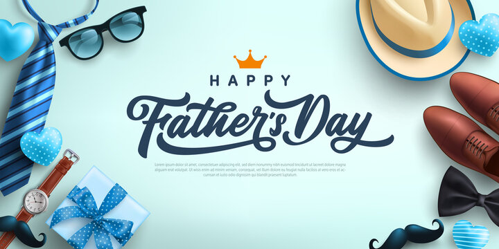 Father's Day Sale poster or banner template with necktie,glasses,hat and gift box.Greetings and presents for Father's Day in flat lay styling.Promotion and shopping template for love dad concept