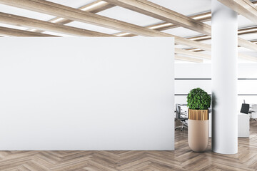 Obraz Modern concrete office interior with mockup wall and wooden floor. Advertisement concept. 3D Rendering. - fototapety do salonu