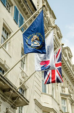 Flags outside the Royal College of Nursing, London